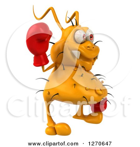 Clipart of a 3d Boxing Yellow Germ Facing Right and Waving - Royalty Free Illustration by Julos