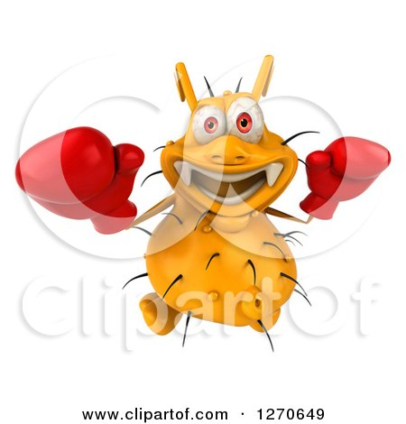 Clipart of a 3d Boxing Yellow Germ Looking Upwards - Royalty Free Illustration by Julos
