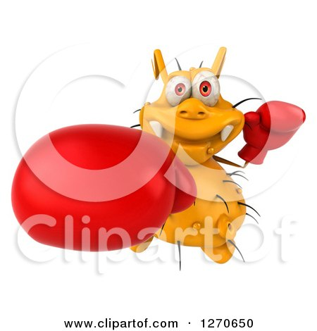 Clipart of a 3d Boxing Yellow Germ Punching Upwards - Royalty Free Illustration by Julos