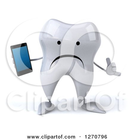 Clipart of a 3d Unhappy Tooth Character Holding a Smart Phone and Gesturing Call Me - Royalty Free Illustration by Julos