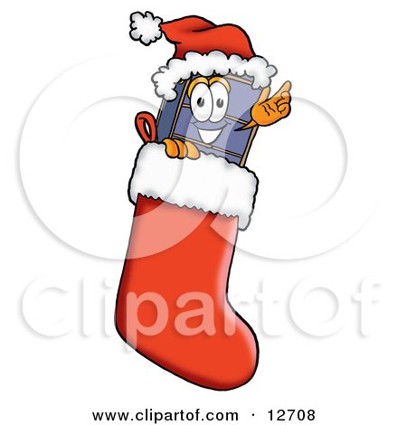Clipart Picture of a Suitcase Cartoon Character Wearing a Santa Hat Inside a Red Christmas Stocking by Toons4Biz
