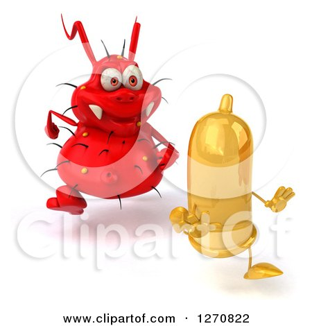 Clipart of a 3d Red Germ STD Chasing a Condom - Royalty Free Illustration by Julos