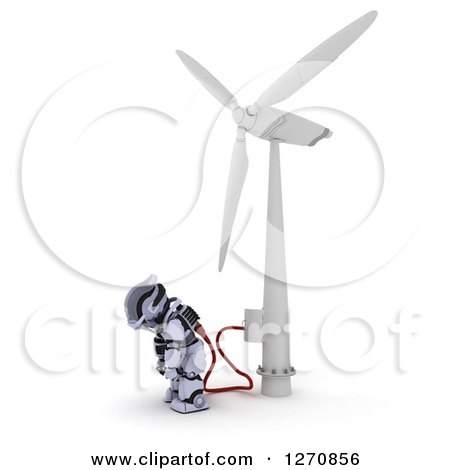 Clipart of a 3d Robot Charging at a Windmill, on a White Background - Royalty Free Illustration by KJ Pargeter