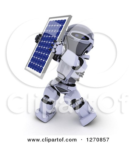 3d Robot Holding up a Solar Panel on a White Background Posters, Art Prints