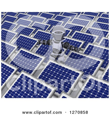 Clipart of a 3d Robot Holding His Arms out in a Field of Solar Panels - Royalty Free Illustration by KJ Pargeter
