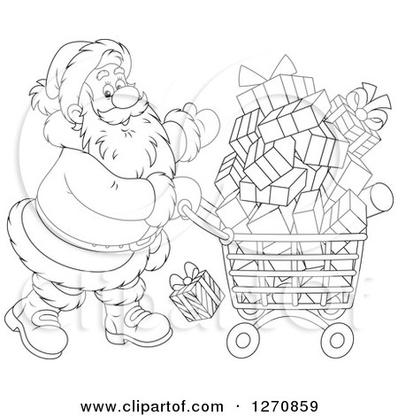 Clipart of a Black and White Christmas Santa Claus Pushing a Shopping Cart Full of Gifts - Royalty Free Vector Illustration by Alex Bannykh