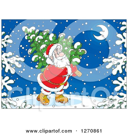 Clipart of a Christmas Santa Carrying a Tree on a Snowy Night - Royalty Free Vector Illustration by Alex Bannykh