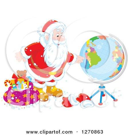 Clipart of a Christmas Santa Claus Looking at a Globe - Royalty Free Vector Illustration by Alex Bannykh
