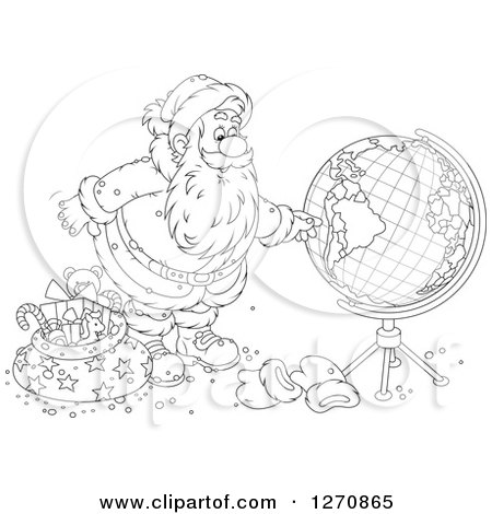 Clipart of a Black and White Christmas Santa Claus Looking at a Globe - Royalty Free Vector Illustration by Alex Bannykh