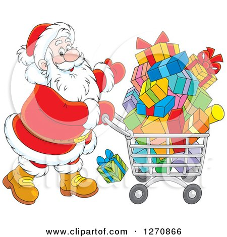 Clipart of a Christmas Santa Pushing a Shopping Cart Full of Gifts - Royalty Free Vector Illustration by Alex Bannykh