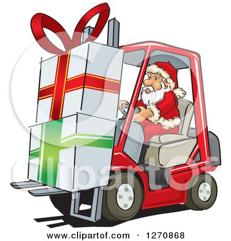 Clipart of Santa Claus Moving Big Christmas Gifts on a Forklift - Royalty Free Vector Illustration by David Rey
