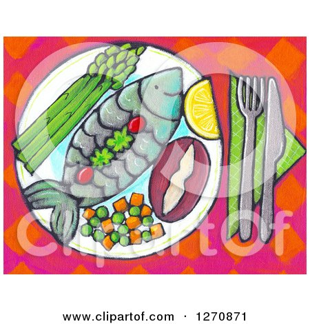 Clipart of a Canvas Painting of a Meal with Fish and Vegetables - Royalty Free Illustration by Maria Bell