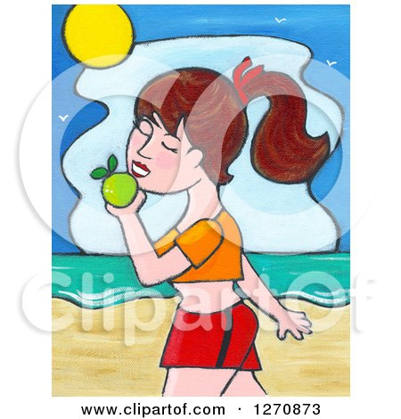 Clipart of a Canvas Painting of a Brunette Caucasian Woman Walking and Eating an Apple on a Beach - Royalty Free Illustration by Maria Bell