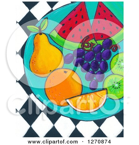 Clipart of a Canvas Painting of a Plate of Healthy Fruit over Diamonds - Royalty Free Illustration by Maria Bell