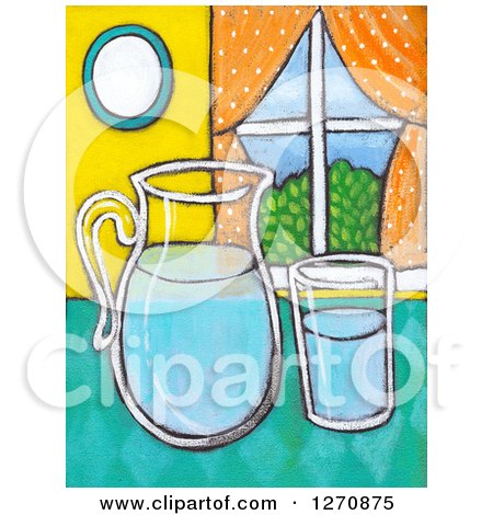 Clipart of a Canvas Painting of a Glass and Pitcher of Water on a Counter - Royalty Free Illustration by Maria Bell