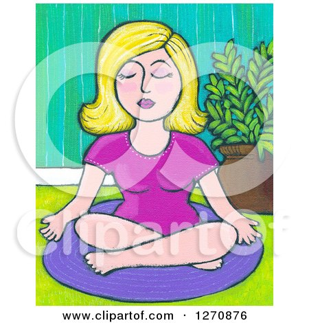 Clipart of a Canvas Painting of a Blond Caucasian Woman Meditating or Doing Yoga - Royalty Free Illustration by Maria Bell