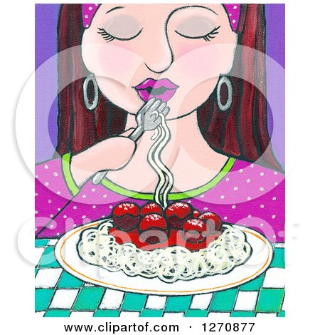 Clipart of a Canvas Painting of a Brunette Caucasian Woman Eating Spaghetti - Royalty Free Illustration by Maria Bell