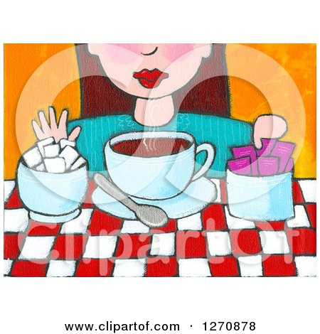 Canvas Painting of a Brunette Caucasian Woman Adding Sugar to Her Tea or Coffee Posters, Art Prints