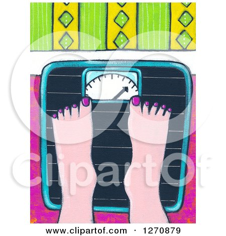 Clipart of a Canvas Painting of a Woman's Feet on a Scale - Royalty Free Illustration by Maria Bell