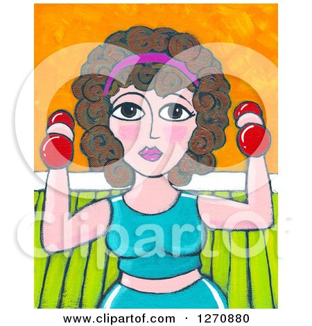 Clipart of a Canvas Painting of a Curly Haired Brunette Caucasian Woman Working out with Dumbbells - Royalty Free Illustration by Maria Bell