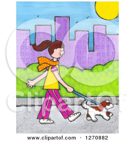 Clipart of a Canvas Painting of a Brunette Caucasian Woman Walking Her Dog in a City - Royalty Free Illustration by Maria Bell