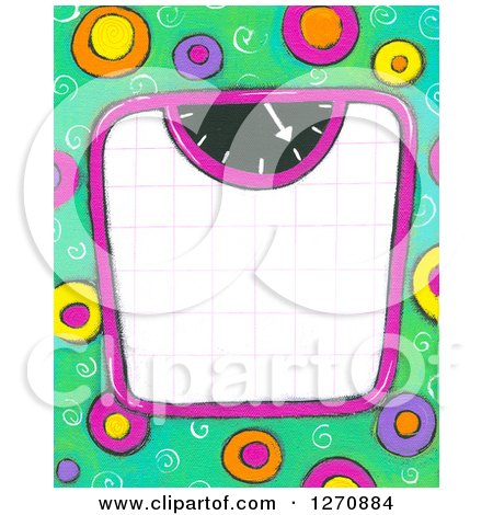 Clipart of a Canvas Painting of a Scale over Green and Colorful Circles - Royalty Free Illustration by Maria Bell