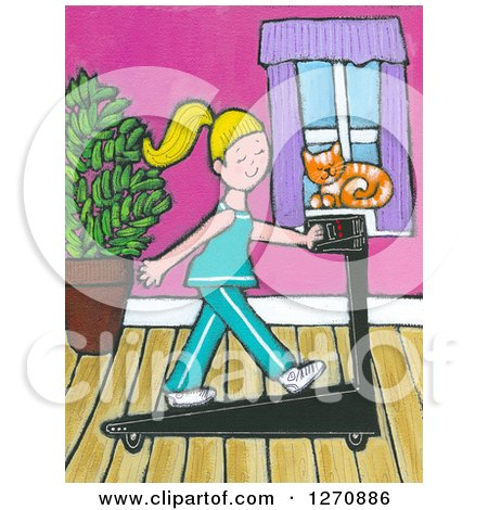 Clipart of a Canvas Painting of a Cat Watching a Blond Caucasian Woman Exercise on a Treadmill - Royalty Free Illustration by Maria Bell
