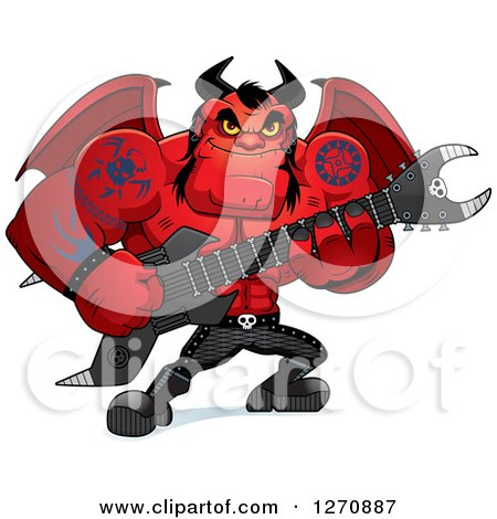 Clipart of a Heavy Metal Devil Playing an Electric Guitar - Royalty Free Vector Illustration by Cory Thoman