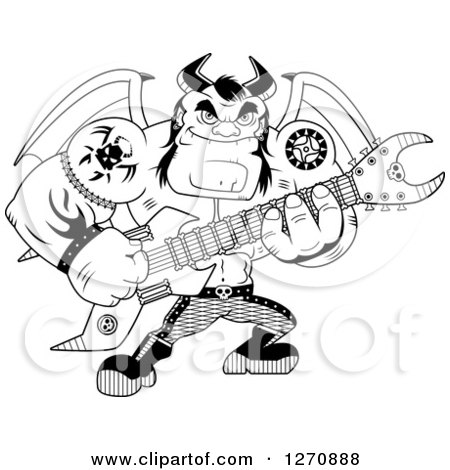 Clipart of a Black and White Heavy Metal Devil Playing an Electric Guitar - Royalty Free Vector Illustration by Cory Thoman
