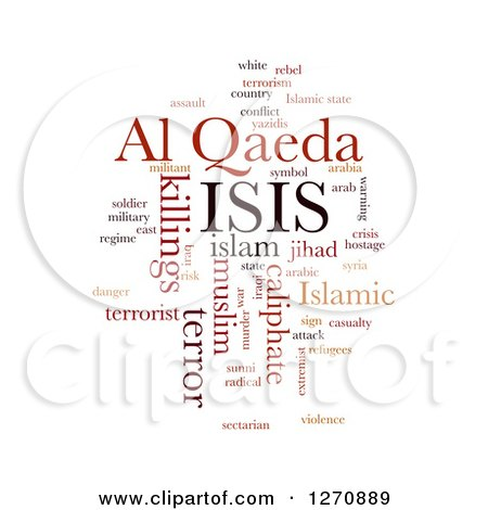 Clipart of a Brown and Orange ISIS and Al Qaeda Word Collage on White - Royalty Free Illustration by oboy