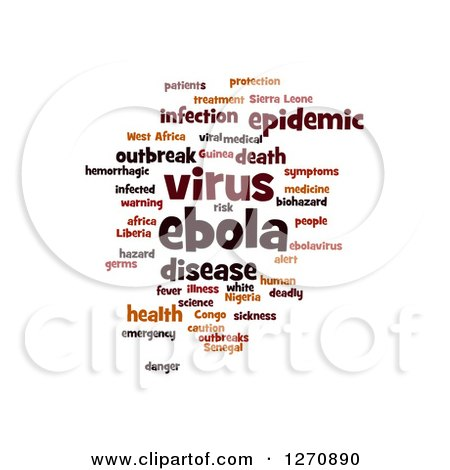 Clipart of a Brown Ebola Virus Word Tag Collage on White - Royalty Free Illustration by oboy