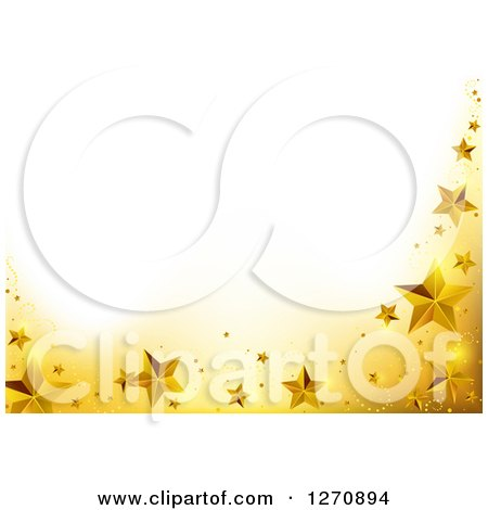 Clipart of a Christmas Background with a Yellow and Gold Star Border Under Text Space - Royalty Free Vector Illustration by dero