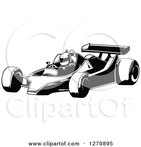 Black And White Race Cars Clip Art
