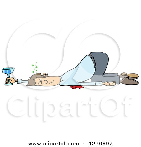 Clipart of a Drunk White Business Man Passed out on the Floor with His Butt up in the Air - Royalty Free Vector Illustration by djart