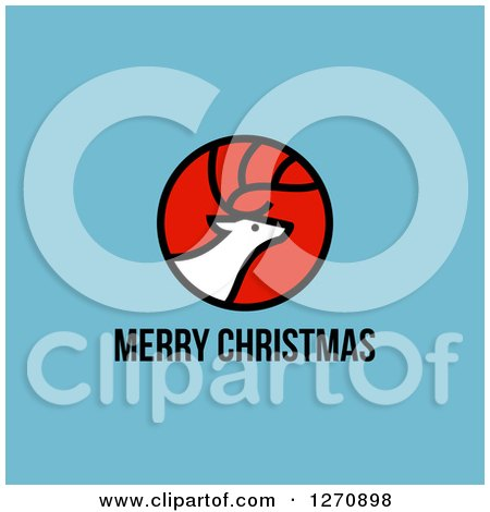 Clipart of a Merry Christmas Greeting Under an Elk or Reindeer on Blue - Royalty Free Vector Illustration by elena