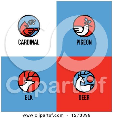 Clipart of a Christmas Cardinal, Pigeon, Elk and Deer with Text - Royalty Free Vector Illustration by elena