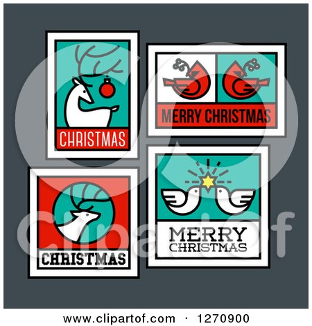 Clipart of Christmas Greetings with a Reindeer, Cardinals, Doves and Elk - Royalty Free Vector Illustration by elena