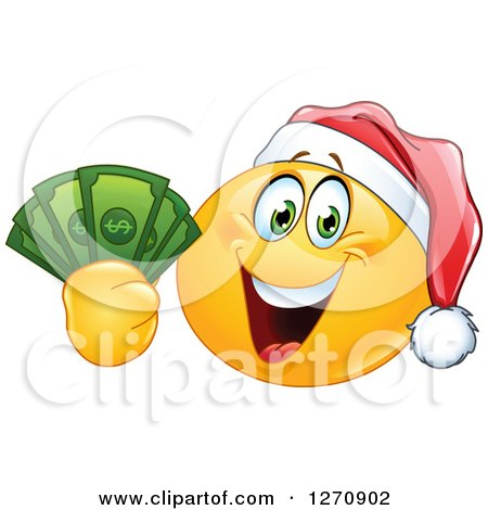 Clipart of a Happy Emoticon Smiley Wearing a Christmas Santa Hat and Holding Cash Money - Royalty Free Vector Illustration by yayayoyo