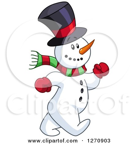 Clipart of a Happy Snowman Speed Walking - Royalty Free Vector Illustration by yayayoyo
