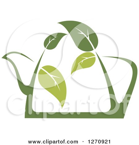 Clipart of a Two Toned Steamy Green Tea Pot and Leaves - Royalty Free Vector Illustration by Vector Tradition SM