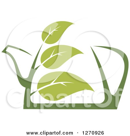 Clipart of a Two Toned Steamy Green Tea Pot and Leaves 2 - Royalty Free Vector Illustration by Vector Tradition SM