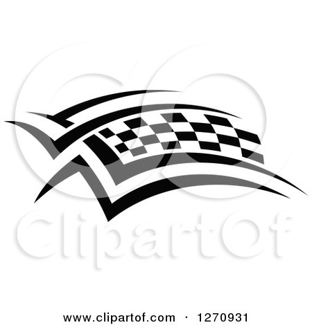 Clipart of a Black and White Tribal Checkered Racing Flag 3 - Royalty Free Vector Illustration by Vector Tradition SM
