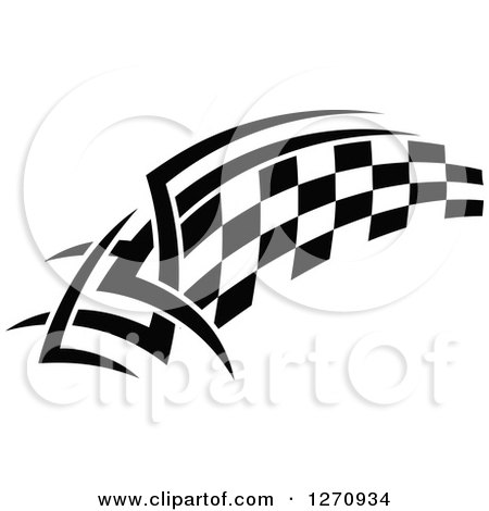 Clipart of a Black and White Tribal Checkered Racing Flag 6 - Royalty Free Vector Illustration by Vector Tradition SM