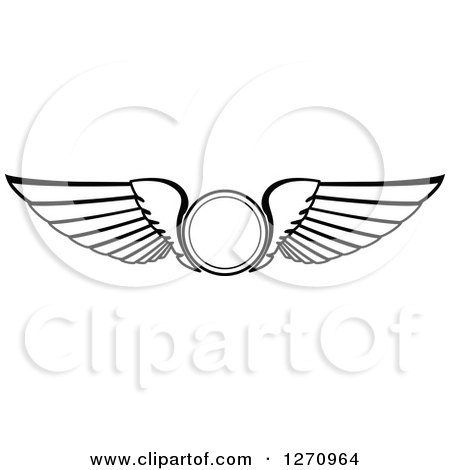 Clipart of Black and White Wings with a Circle - Royalty Free Vector Illustration by Vector Tradition SM