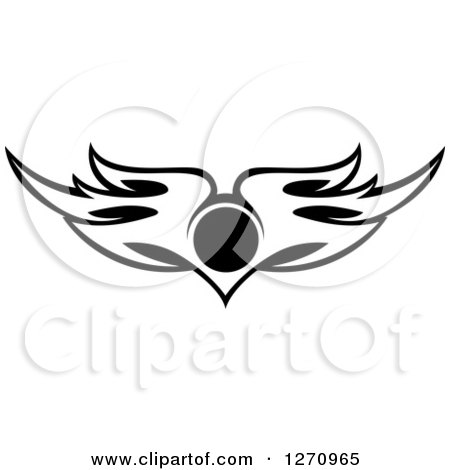 Clipart of Black and White Wings with a Circle 3 - Royalty Free Vector Illustration by Vector Tradition SM