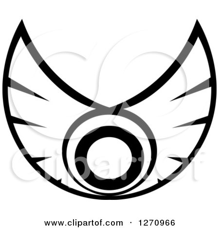 Clipart of Black and White Wings with a Circle 2 - Royalty Free Vector Illustration by Vector Tradition SM