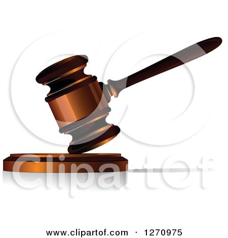 Clipart of a 3d Wood and Bronze Gavel - Royalty Free Vector Illustration by Vector Tradition SM