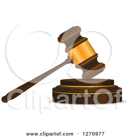 Clipart of a 3d Wood and Gold Gavel - Royalty Free Vector Illustration by Vector Tradition SM