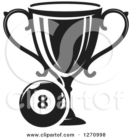 Clipart of a Black and White Billiards Eight Ball with a Trophy - Royalty Free Vector Illustration by Vector Tradition SM