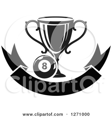 Clipart of a Black and White Billiards Eight Ball with a Trophy over a Blank Banner - Royalty Free Vector Illustration by Vector Tradition SM